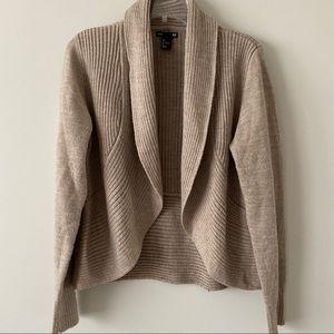 Open front beige cardigan